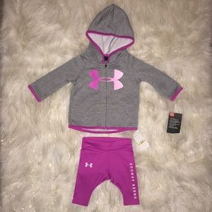 NWT Under Armour pink & gray 0/3 Month 2 piece set